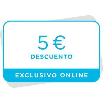 Vale de 5€ de descuento en próxima compra en la tienda online